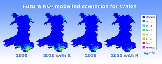Map showing future NO<sub>2</sub> modelled scenarios