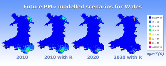 Map showing future PM<sub>10</sub> modelled scenarios